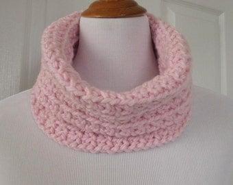 Chunky Pink hand crochet Cowl Neck warmer Turban Head warmer Infinity scarf scarfette Super Soft