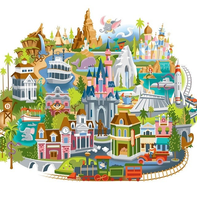 Disneyland Map Cross Stitch Pattern - Disneyland brazil map