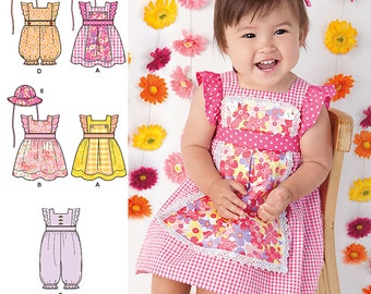 Simplicity Pattern 1470 Babies' Dress, Romper and Hat in Three Sizes