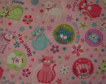 SPECIAL LISTING for saffronji for Kitty Words Pink Flannel Fabric  (3/4 of a yard)