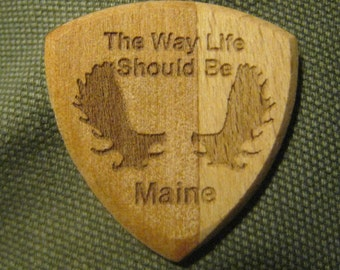 Wooden Guitar Pick Moose Antlers & The Way Life Should Be... Maine