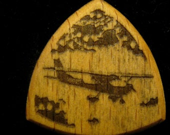 Wooden Guitar Pick Cessna Airplane Flying