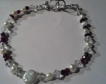 Handcrafted Fresh Water Pearls Garnet Swarvoski Bracelet