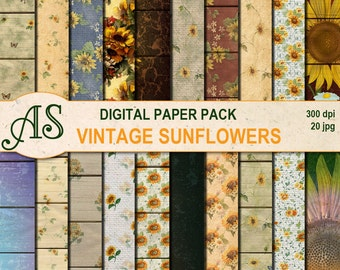 Digital Vintage Sunflowers Paper Pack, 20 printable wooden and linen papers, floral Collage, Decoupage papers, Instant Download, set171
