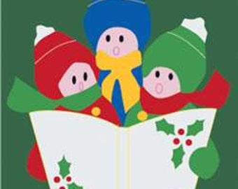 Carolers Handcrafted Applique House Flag