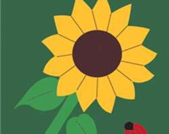 Sunflower Handcrafted Applique Garden Flag