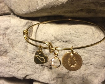 Kentucky Gold Wire Charm Bracelet - Crystal Faceted Dangle, Hand Stamped Horseshoe Coin And Kentucky Heart Charms FREE SHIPPING