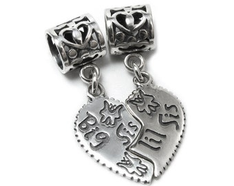 925 Sterling Silver Big Lil / Little Sis Sister Love Heart Pendant Dangle Family European Bead Charm - 1PC