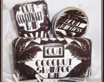 Coconut solid shampoo bar, solid conditioner bar and Coconut Hair Gloss