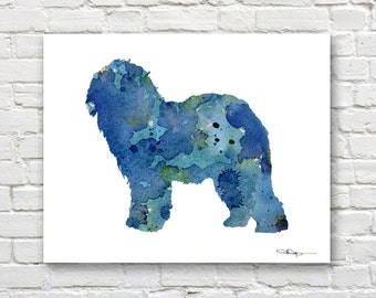 Old English Sheepdog Art Print - Abstract Watercolor Painting - Wall Decor