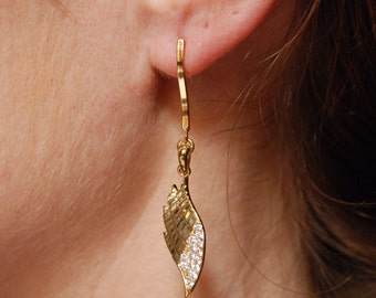 16k gold plated brass and sterling silver earrings, wing shaped SAUSALITO by KREATURE bijoux