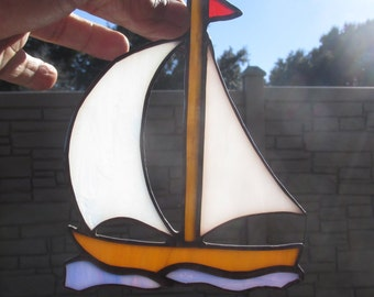 Stained Glass Suncatcher Sailboat