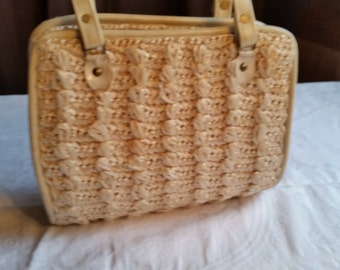 SALE 50% OFF Vintage Straw Colored Woven Sarne Handbag Made in Japan