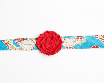 Ice Princess - Fabric Flower Headband, Headband with Flower, Fabric Rosette Headband, Fabric Headwrap, Blue and Red Headband