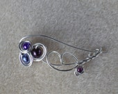 Custom Order - Sterling Silver Wire Wrapped Brooch with Purple & Blue Glass Pearls