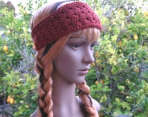 Crochet burnt orange boho headband, natural fibers hippie headband, workout hair accessory, fall color bamboo wool headband, yoga lover gift
