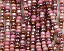 "8/0 Vintage Rose Mega Mix Czech Seed Beads - 6/20"", fabulous combo of earthy rose colors, posh mix."