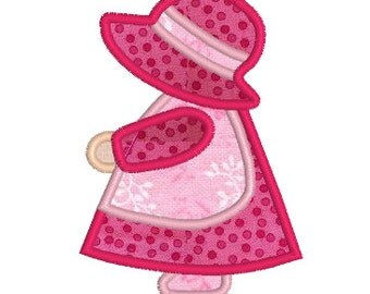 BUY 2, GET 1 FREE - Applique Sunbonnet Sue Machine Embroidery Design - Perfect for Quilt Squares - Doll Embroidery Design 4x4, 5x7, 6x10