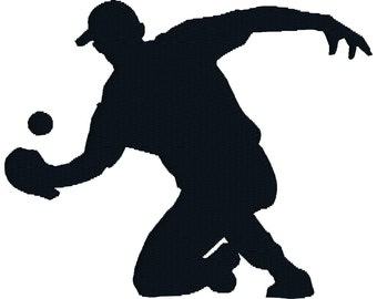 BUY 2, GET 1 FREE - No. 13 - Softball Baseball Player Machine Embroidery Design Silhouette in 3 Sizes - 4x4, 5x7, 6x10
