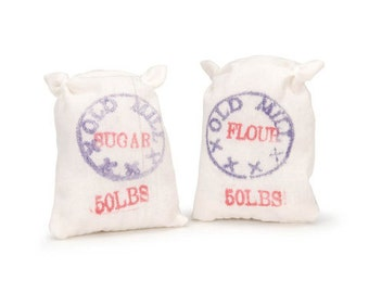 Dollhouse Food Miniature Sack of Flour and Sugar Miniatures Dollhouse Kitchen