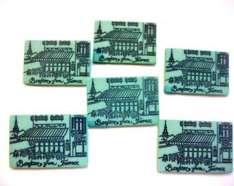 Paris Souvenir Button France Postcard Shank Set of 6 French