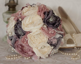 Fabric Flower Bridal Bouquet, Ivory, Grey and Dusty pink Satin and Lace Bridal Bouquet, Vintage Inspired Fabric and Brooch Wedding Bouquet