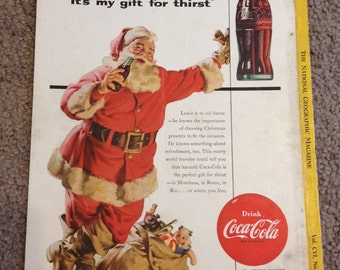 Vintage 1954 Christmas Santa Clause Coca Cola Advertisment 7x10