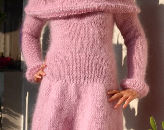 New Hand Knitted Mohair Sexy Dress,Romantic Pink,Handmade Sweater