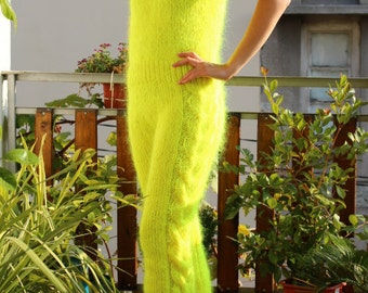 New Hand Knit Mohair 70 %Pants,Sexy Unique Union Suit,Neon Yellow,Handmade,S-M-L