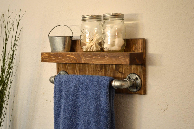industrial modern wood hand towel bar rack bathroom rustic. Black Bedroom Furniture Sets. Home Design Ideas
