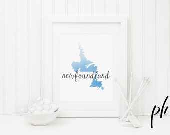 "Newfoundland Map, Newfoundland, Newfoundland Art, Canada Map, Canada Art, Printable Art, Art Print, Watercolor Print,""A world of difference"""