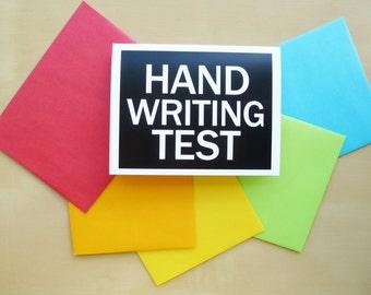 Humorous Greeting Card - Blank Greeting Card  - Handwriting Test