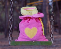 Toddler bathrobe, yellow and pink bathrobe, cute gift for girls, hooded bath robe with heart,  pink terry cloth bag, birthday gift for girls