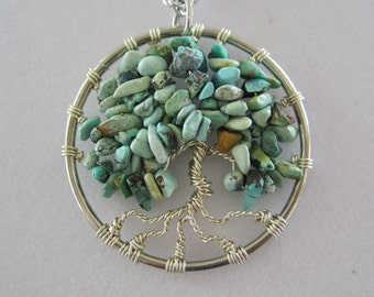 Natural Turquoise Tree of Life Pendant