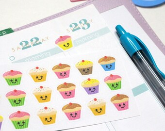 30 Cute Cupcake Stickers! Perfect for your Erin Condren Life Planner, Filofax, Kikkik, Plum Paper & other agenda, or scrapbooking! #SQ00189