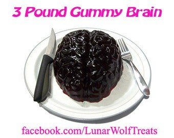 3 Pound Gummy Brain, for the zombie in all of us!  Halloween centerpiece or just a post-apocalyptic snack.