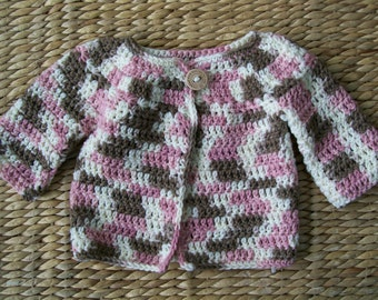 Neopolitan Baby Girl Cardigan.  Made with soft acrylic yarn.  Size 12-24 months