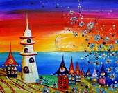 Colourful folk art. Contemporary art. Fantasy art.