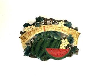 Cast Iron Watermelon Trivet, Vintage Trivet, Cast Iron Plaque