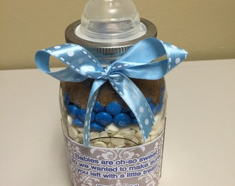 Gourmet Mason Jar Cookie Mix - Baby Bottle Style - Baby Shower Party Favor