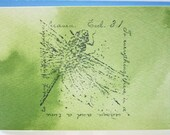 Set of 13 Handstamped Inspirational Note Cards with Ecclesiastes 3:1 and dragonfly on green watercolor paper