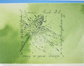 Handstamped Inspirational Note Card with Ecclesiastes 3:1 and dragonfly on green watercolor paper - To everything there is a season