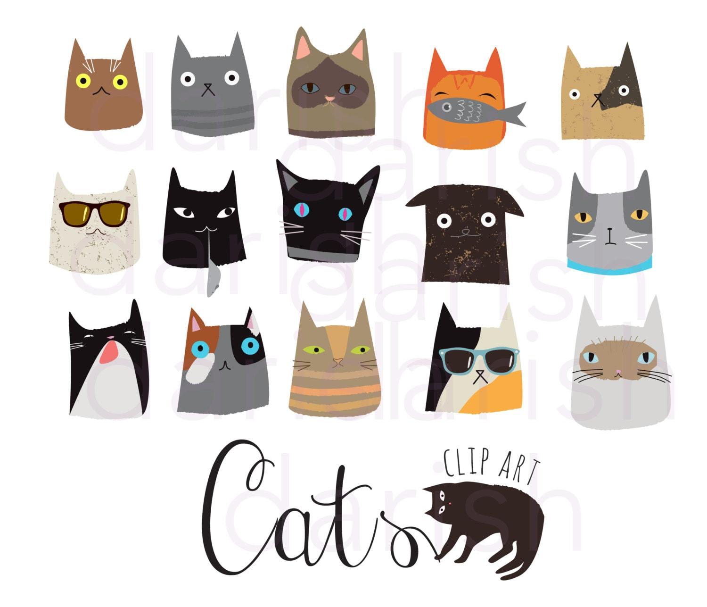 Cute Cat Clip Art Cat Clipart Digital Cat PNG Animal