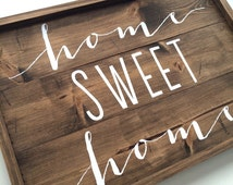 Home sweet home sign, rustic wood sign, wood decor