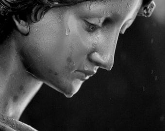 Tears from Heaven; Angel Statue; Angel in the Rain;  Bronze Statue; Black and White