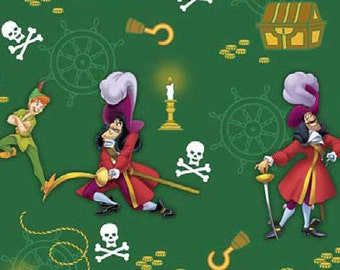 Disney's Peter Pan and Hook Cotton Woven Fabric out of print and hard to find