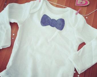 Babys boy bowtie tie newborn to 24 months babygrow in glitter grey, blue, pink, glitter gold or glitter black