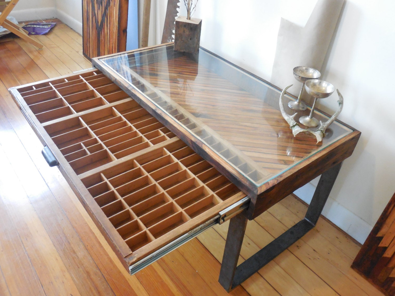 Reclaimed wood coffee table printer drawer by uniqueindustry for How to make a reclaimed wood coffee table