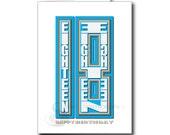 18th Happy Birthday card boy, man, male Happy Birthday, 18 typography, blue, message inside, bth059