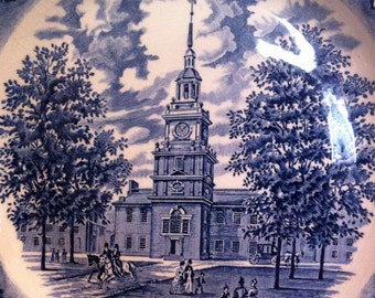 Vintage Plate of Independence Hall